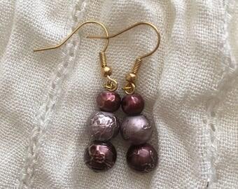 Dark Rose Three-Tier Drop Earrings