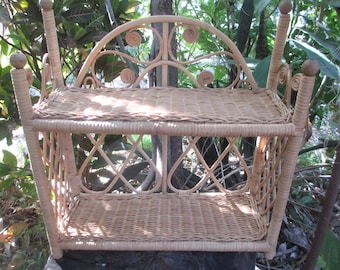 2 Tiered Brown Wicker Shelf, Rattan Shelf, Bathroom, Patio Decor