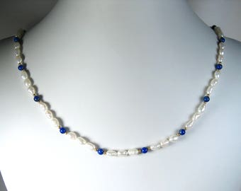 Freshwater Pearl and Lapis Necklace Gold