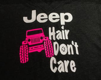 Jeep hair don't care v neck tshirt customize jeep color