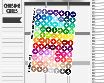 Airplane Circle Icons #MCS2 Premium Matte Planner Stickers