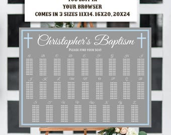 Alphabetical Seating Chart Template, Baptism Seating Chart, Communion Seating Chart, Religious Seating Chart, Instant Download, Editable,DIY