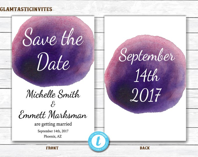 Watercolor Save the Date, Save the Date, Save the Date Template, Template, Watercolor Template, Watercolor Wedding, Calligraphy, DIY Wedding
