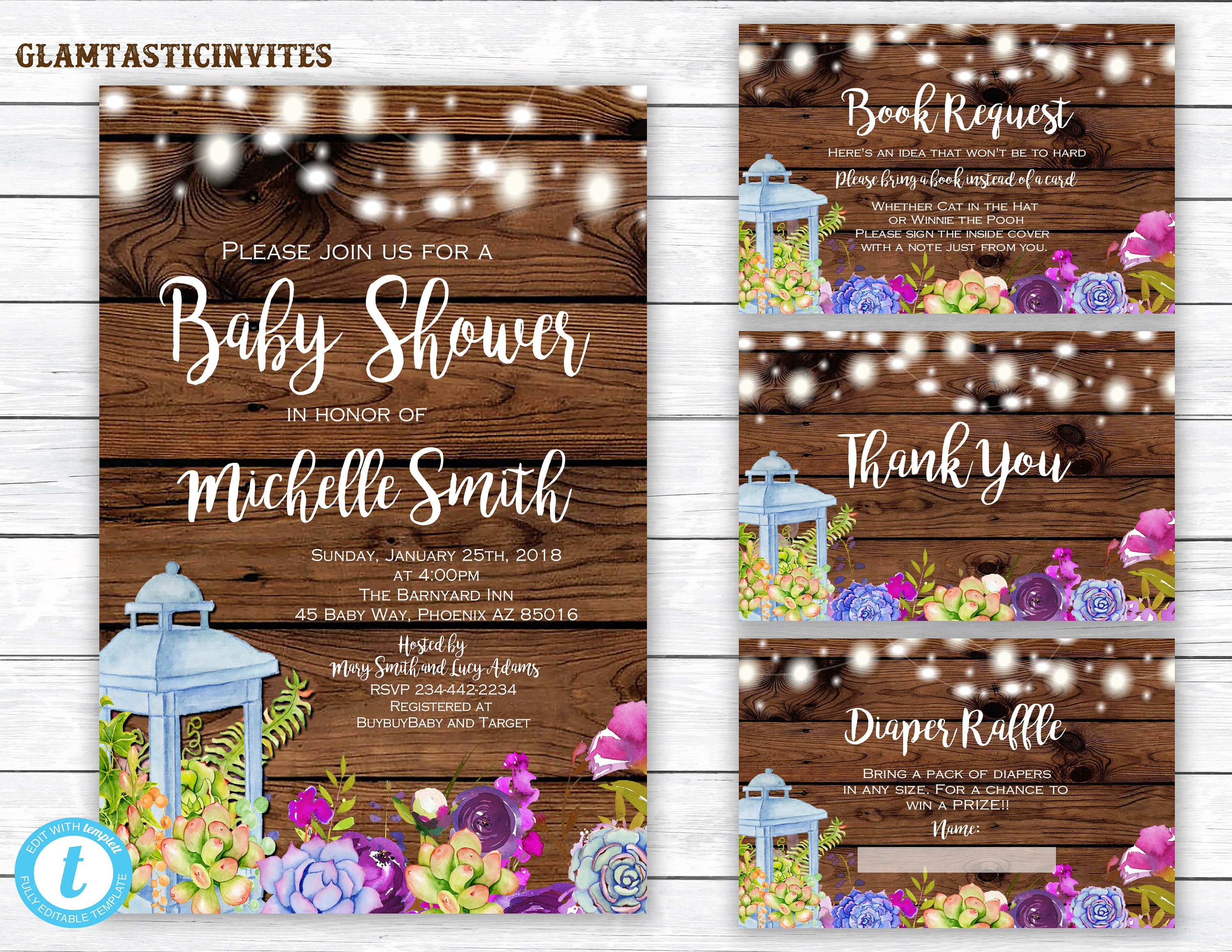 Rustic Floral Baby Shower Template, Baby Shower Invitation ...