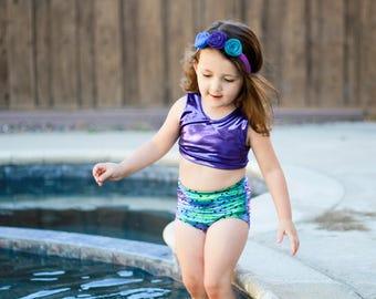 Mermaid bathing suit swimsuit mermaid toddler baby handmade bathing suit swimwear