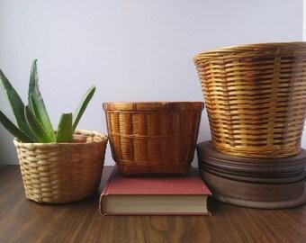 Wicker planter baskets . vintage wicker planters . boho baskets SET of 3 . succulent planter . houseplant basket