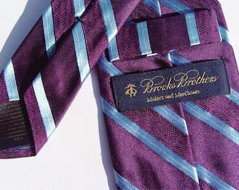 Vintage Brooks Brothers Lilac/Blue Diagonal Stripe Silk Neck-Tie NWT
