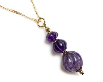 Long Vintage Carved Amethyst Pendant, Amethyst Necklace, Amethyst Birthstone, Gemstone Pendant, Carved Pendant, Amethyst Beads