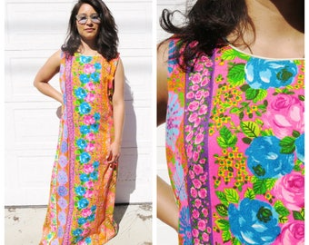 60's Colorful Floral Maxi Dress