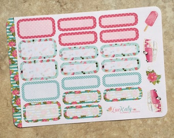 Summer Fun Rounded Corner Half and Quarter Box Set Planner Stickers for use with inkWELL Press   Happy Planner   travelers Notebook