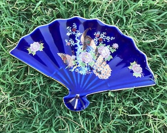 Vintage Interpur Trinket Dish, Blue Fan Shaped Dish, Japan, Décor, Gift
