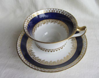 Elegant vintage  Diamond China  bone china duo c 1920's, tea party, bridal shower, English china cobalt blue, gold tea cup and saucer