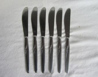 """Vintage set 6 Empire dinner table knives, stainless steel. Mid century retro. Wingfield & Co Sheffield  8.6"""""""