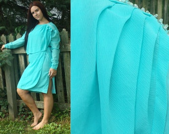 80s Teal Fancy Dress,  Long Sleeve Beaded Party Dress, Knee Length Long Sleeve Dress, Special Occasion Dress, Vintage 1980s Dress Large
