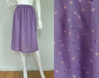Vintage 80s purple leaf print skirt, lightweight summer skirt, purple skirt, leaf print, knee length skirt, spring skirt, small skirt