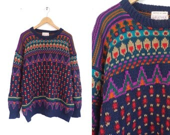 80s Nordic Sweater Colorful Tribal Sweater Chunky Knit Ramie Cotton Sweater Southwestern Pullover Crew Neck Womens Jumper Large/XL