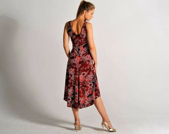 CARLA red floral flow dress - sizes S and M