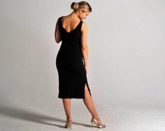 VICTORIA long black slit tango dress, XS-M