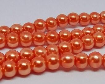 "Orange 6mm Round Glass Pearl Beads (32"" Strand)"