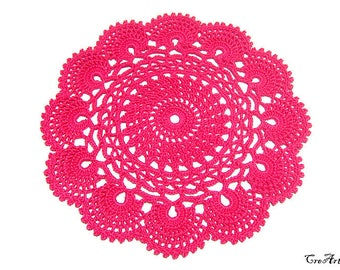 Small Hot Pink crochet doily, Colorful Doily, Crochet coasters, Table decorations, Centrino colorato