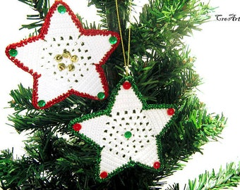 Christmas crochet hanging stars, Christmas tree decorations, Stelle per albero di Natale