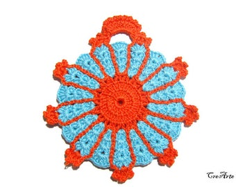 Orange and Turquoise crochet potholder, Presina arancione e turchese all'uncinetto