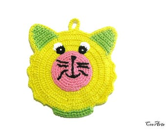 Yellow and Green crochet bear potholder, presina orsetto gialla e verde all'uncinetto