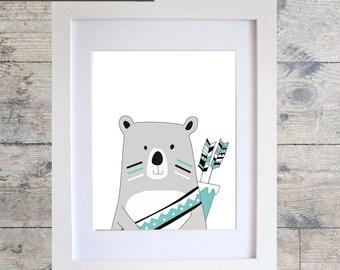 TRIBAL BEAR (Mono Teal) Wall Art / Kids Room Decor/ Kids Wall Art / Nursery Wall Art / BEAR Print