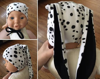 Baby Bunny Hat - Black and White Polka Dot - Size 0-3, 3-6, 6-9 Months