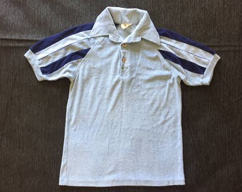 Vintage 1970s Terry Cloth Blue Stripped Polo Tee Shirt Small S