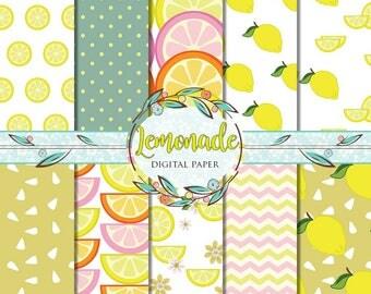 Lemon Digital Paper, Lemonade Digital Paper, Digital Paper, Summer Patterns, Lemon Background, Citrus Background, Yellow Lemons Background