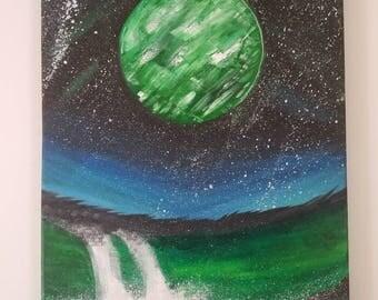 Original fantasy planet painting 11x14