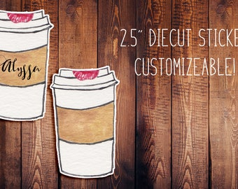 Hand Painted Watercolor Coffee Customizeable Diecut Sticker, Hand Painted Watercolor Diecut, Planner Stickers, Watercolor Stickers