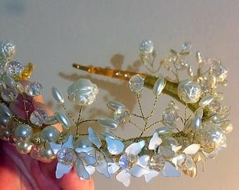 Stunning handcrafted Tiara, perfect wedding accessory . White tiara, wedding tiara, wedding hair.