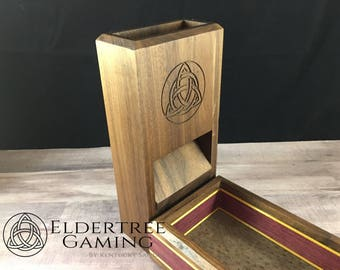 Premium Dice Tower with dice storage - Walnut - Eldertree Gaming