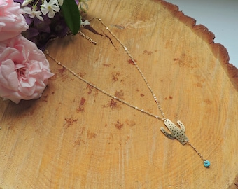 Cactus Necklace, turquoise, indian, summer, gold, nature, love, romantic
