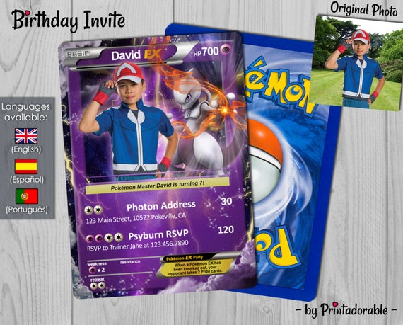 Pokémon Card Psychic, Pokemon Invitation Mewtwo, Pokemon Birthday Invite, Pokemon Party, Pokemon GO - Digital or Printed File