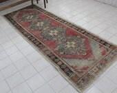 "Turkish Rug, Vintage Handmade Red Blue Hallway Bohemian Oushak Rug Runner Carpet, Anatolian Home Decor Ethnic Runner Rug, 276x97cm,109""x38"""