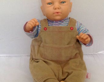French Vintage Furga Doll Corolle Dungarees French Newborn Baby Boy Doll Collectible Doll ( Ref No. A287 )
