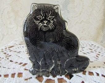 Abraham Palatnik cat black and white, VINTAGE Persian Angora Cat Figurine, Rare Palatnik Cat VTG Brazilian Black And White, Collectible Art