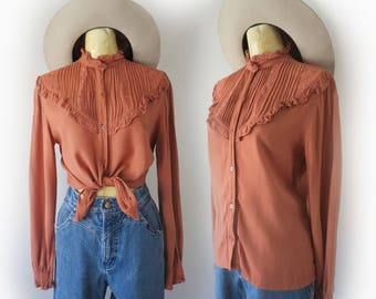 Vintage 70's Burnt Orange Red Long Sleeve Western Button Up Size Small Medium