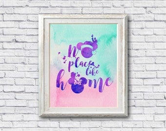 "No place like home watercolor Quote Murals ,8""x10""  JPEG & PDF file , Inspirational Quote,Digital Prints,Wall Art Prints"