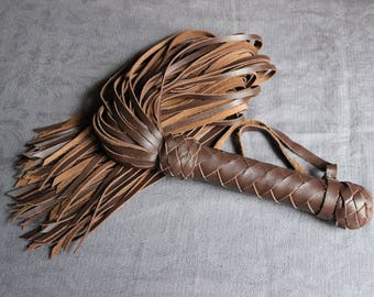 Brown Leather Flogger - 80 tails