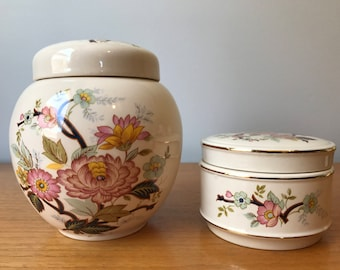 Sadler Ginger Jars, Large and Small Containers with Lids, Tea Caddy, Trinket Box, Kitchen Storage, Home Decor, Vintage Collectibles