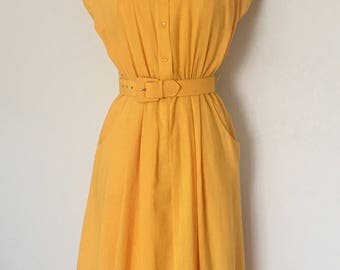 Vintage Dress Yellow 1980s Size 6 Charlies Angels era S L Petites