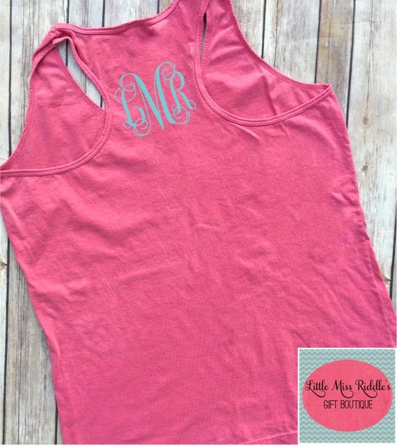 comfort colors racerback tank top front and back monogrammed