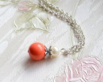 Coral necklace Orange jewelry Coral bridesmaid Orange Bridesmaid necklace Coral Wedding jewelry Peach Bridesmaid gift set Peach jewelry set