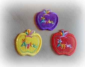 3 fusible badge patch / applique in red, purple and yellow Apple 4.8 * 5 cm