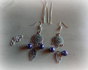 Silver chandelier, purple beads and OWL charm earrings Kit / OWL