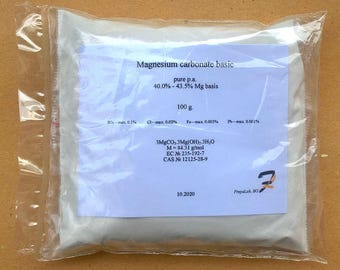 Magnesium carbonate basic (hydroxide)- pure p.a powder 50-100-200-400g Free shipping